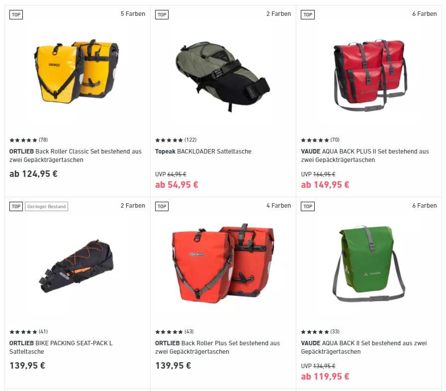 Produktbeispiele für Arten von Fahrradtaschen für lange Touren
